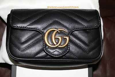 122643eb697647 Rare New Gucci Marmont Matelasse Leather Super Mini Chain Bag Clutch Woc  Black
