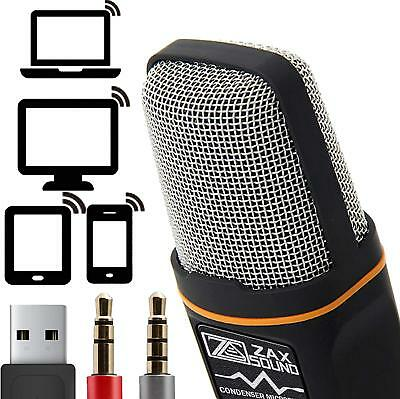ZaxSound Professional Microphone Mic for PC Laptop iPhone Mac YouTube Recording