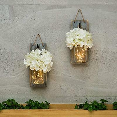 HABOM Mason Jar Sconce Wall Art Home Decor ? Lighted Rustic Country Farmhouse