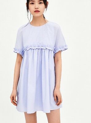 71dec33d NEW ZARA SHORT Frilled Ruffle Playsuit Jumpsuit Dress Sky Blue Size ...