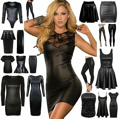 New Womens Wet Look Pvc Leather Bodycon Dress Mini Skirt Top Leggings Plus Size