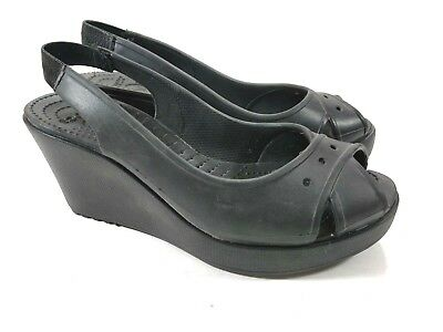 2c8686942 Crocs Farrah Slingback Pump Womens Sz 8 Black Platform Wedge High Heel Shoe