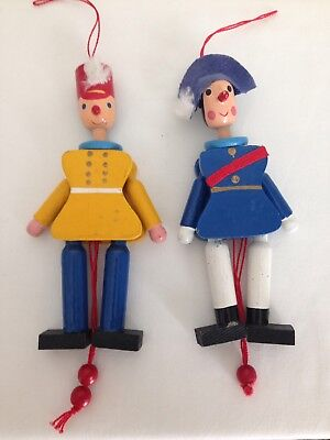 Lot of 2 Vintage Pull String Christmas Ornament Wooden Soldier or Band leader