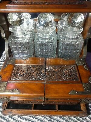 Antique Victorian Oak Silver Plate Mounts Games Compendium 3 Decanter Tantalus
