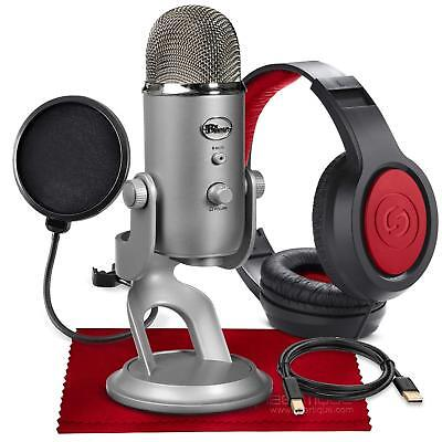 Blue Yeti USB Microphone (Silver) with Studio Headphones and Pop Filter Accessor