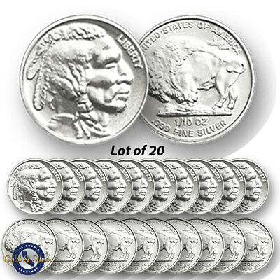 Lot of 20 -- New 1/10 oz Indian Buffalo Design .999 Fine Silver Rounds