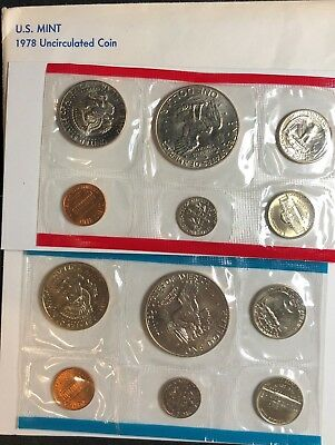 1977 United States Mint P /& D Uncirculated 12pc Coin Set with original packaging