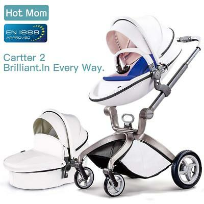 Hot Mom Pushchair 3 in 1 Travel System Stroller Pram Buggy with Bassinet White