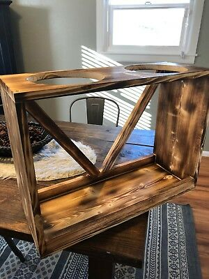 Double Elevated Wood Pet Food & Water Bowl Stand Raised Feeder for Dogs or Cats