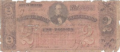 1861 $2 Two Dollar Bill Corporation of Richmond Virginia Confederate Note