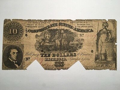 1861 Confederate States of America $10 Ten Dollar Bill Civil War Currency Note!