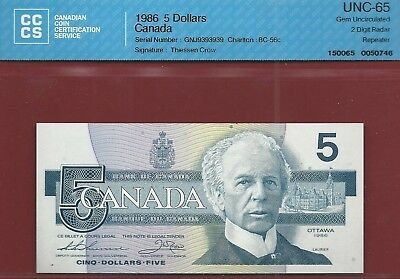Canada 1986 $5 BC-56c 2 Digit Repeating Radar  GNJ9393939  CCCS GemUnc-65