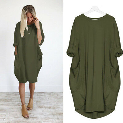 Cotton Maternity Clothing Pocket Loose Brief Office Dress For Pregnant Women