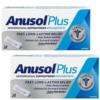 Anusol Plus Hermorrhoid 2x24 Suppositories Extra Pain Relief Anesthetic CANADA