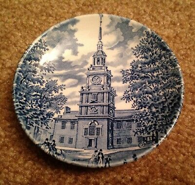 Vintage Liberty Blue Staffordshire England Historic Colonial Scenes Mini Plate