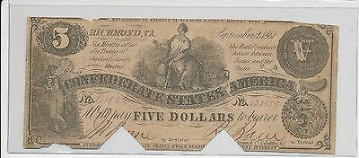 1861 Confederate States of America $5 Five Dollar Bill Civil War Currency Note