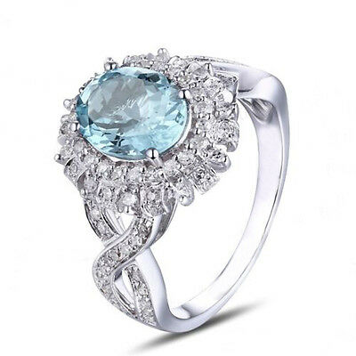 14kt White Gold Natural African Blue Topaz 1.95 Carat Egl Certified Diamond Ring Fine Jewelry Fine Rings