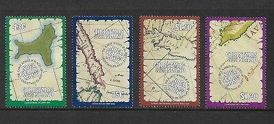 1991 MAPS, Early Names & Places, CHRISTMAS ISLAND, mint set of 4, MNG