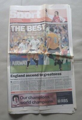 Rugby World Cup Final 2003 - Newspaper Sports Supplement (The Sunday Telegraph).