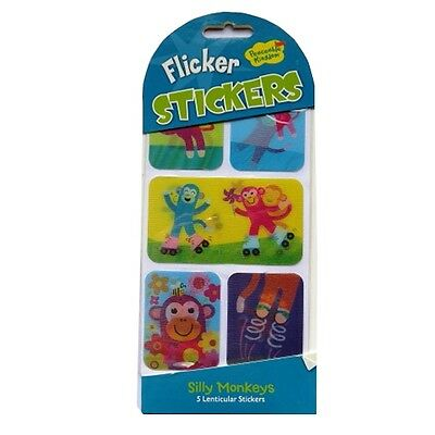 Flicker Stickers - 3 Designs - Pack of 5 Colour Lenticular Moving Stickers
