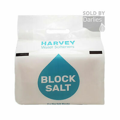 HARVEYS BLOCK SALT 8KG 2 X 4KG | Water Softener Kinetico 1,3,6,9,12-125 PACKS