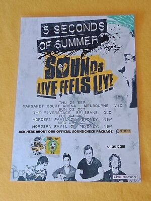 5 SECONDS OF SUMMER - 5SOS - 2016 TOUR POSTER - SIGNED AUTOGRAPHED - Laminated