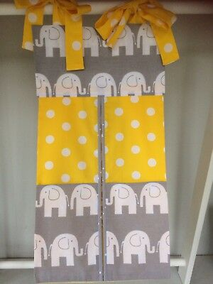 Elephant Yellow/Grey Nappy Stacker/Nappy-Toy Holder/ Boy/Girl. Ideal Baby Gift.