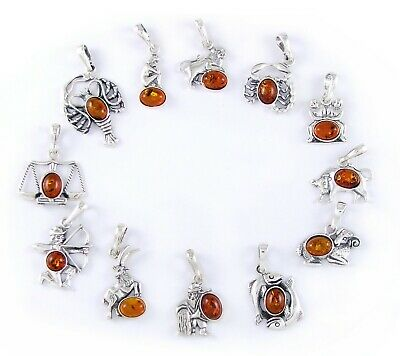 Baltic Amber Zodiac Signs Pendant 925 Sterling Silver+Silver Necklace (Extra)