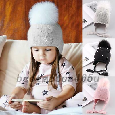 Baby Girl's Hat Pearl Beanie Hat Warm Large Pom Bobble Cap Tie Ear Protection