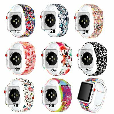 Cute patterns watch bands fit apple watch 38mm 40mm 42mm 44mm soft silicone
