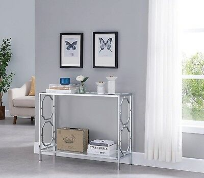 c66b2ca7911 Chrome Sofa Table Furniture Console Modern Accent Entryway Glass Clear Top  Metal