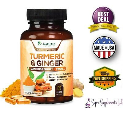TURMERIC CURCUMIN with GINGER & BIOPERINE Black Pepper 1900 mg 95% Curcuminoids