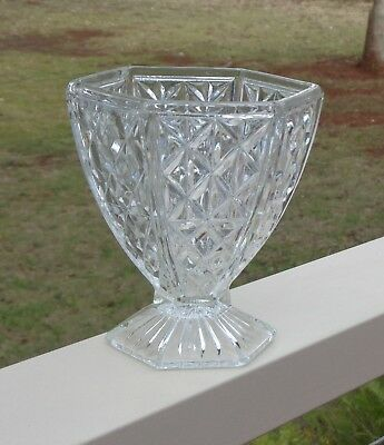 Vintage Crown Crystal Glass Co Australia Art Deco Depression Glass Vase