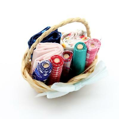 1:12 Scale Dolls House Miniature Sewing Basket with Mixed Fabric Kid Play top