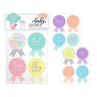 Baby Shower 12 Guest Name Rosettes Badges Name Tags Accessories