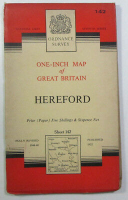 1960 old vintage OS Ordnance Survey seventh series one-inch Map 142 Hereford