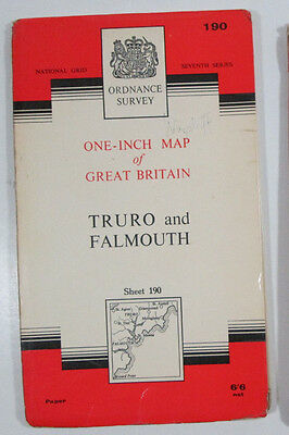 Vintage 1966 OS Ordnance Survey Seventh Series One-inch Map 190 Truro & Falmouth