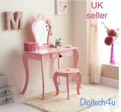 Amelia Vanity Set/ Dressing Table With Mirror And Stool Pink Colour