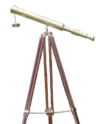 Nautical Solid Brass Shiny Telescope Maritime Single Barrel Home Tripod Decor