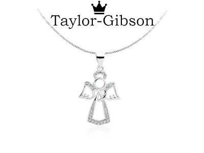 925 Sterling Silver Guardian Angel Heart Halo Wings Necklace or Pendant Gift