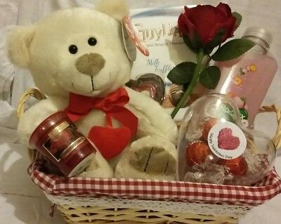 Valentines day gift hamper for her with Chocolates / teddy bear