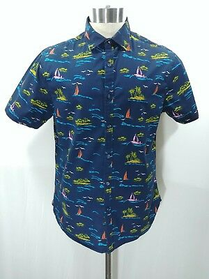 5970764567 Denim   Flower Ricky Singh Mens Button Front Short Sleeve Slim Fit Size L  Shirt