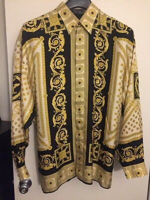 bfeea7bcb666 GIANNI VERSACE MEN S SILK SHIRT Classic V2 Vintage 90s Baroque Eagle Crown