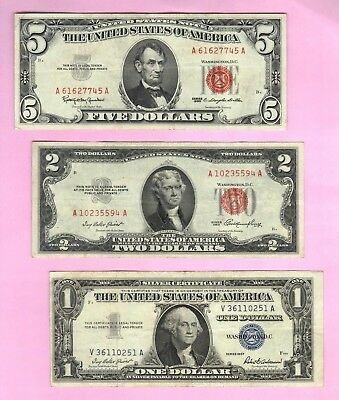 Red Seal $5 & $2 Dollar USA Legal Tender Notes+ $1 Silver Certificate Bill Money