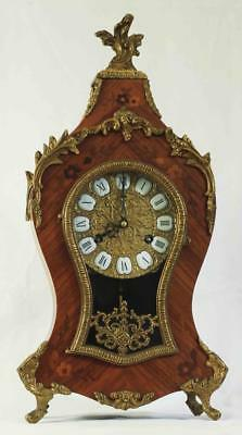 Vintage 8 Day Boulle Type Rococo Franz Hermle Walnut Mantle Clock