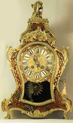 Large Antique French Two Train 8 Day Louis Xv Style Boulle Mantle Clock