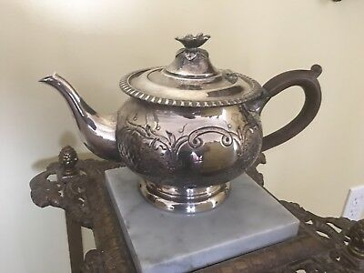 Lovely Vintage Hand Chased Silverplate Teapot by Richelieu Plate Sheffield-repro
