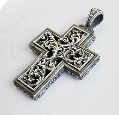 Antique Greek Byzantine Cross Pendant 925 Sterling Silver Gold Plated Code S811