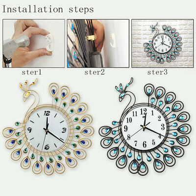 Fashion And Creative Peacock Wrought Iron Set Auger Wall Clock Super Mute ♚⚡