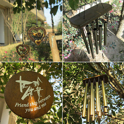 Amazing Antique Bronze 8 Tubes Bells Wind Chimes Yard Garden Outdoor Decor E6FR